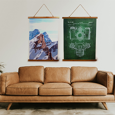 wood topped wall tapestries